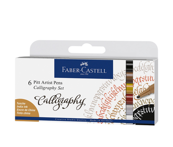 Faber Castell 6 Pitt Artist Pen India Ink Calligaphy Set