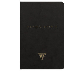 CLAIRE FONTAINE FLYING SPIRIT NOTEBOOK LINED 6x8 BLACK CLOTH BOUND
