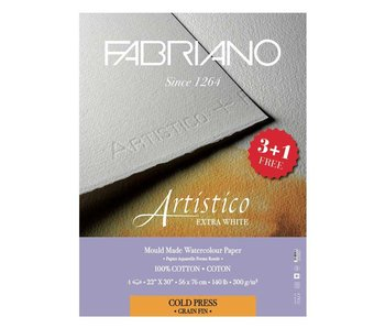 "Fabriano Artistico Extra White 22x30"" Cold Press 3+1 Free Package"