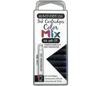 MONTEVERDE USA INK CARTRIDGES MIX BOX OF 12 COLORS