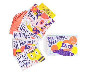 Stu-pandas Greetings! 10 Pull-Tab Cards & Envelopes