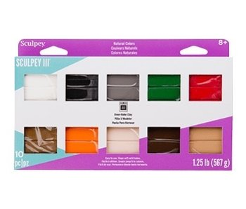 SCULPEY III OVEN-BAKE CLAY 10 PIECE MULTI PACK NATURALS