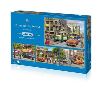 Gibsons Puzzle 4x500: Cities of the World