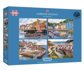 Gibsons Puzzle 4x500: Harbour Holidays
