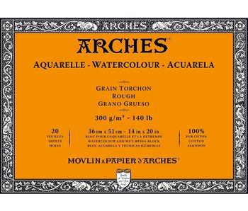 "ARCHES® Watercolour Rough 14"" x 20"" - 140lb / 300gsm Natural White 20 Sheet Block"