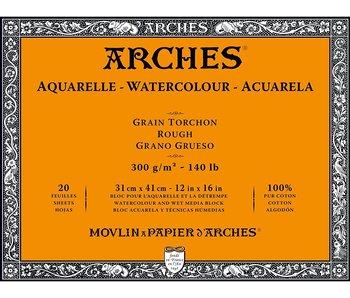 "ARCHES® Watercolour Rough 12"" x 16"" - 140lb / 300gsm Natural White 20 Sheet Block"