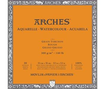 "ARCHES® Watercolour Rough 12"" x 12"" - 140lb / 300gsm Natural White 20 Sheet Block"