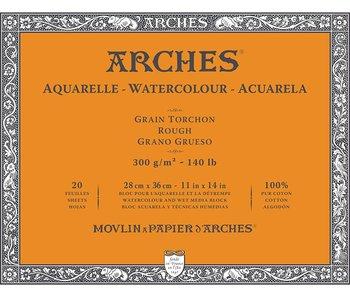 "ARCHES® Watercolour Rough 11"" x 14"" - 140lb / 300gsm Natural White 20 Sheet Block"