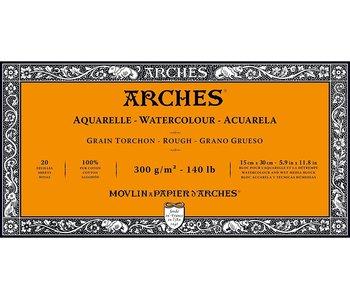 "ARCHES® Watercolour Rough 5.9"" x 11.8"" - 140lb / 300gsm Natural White 20 Sheet Block"