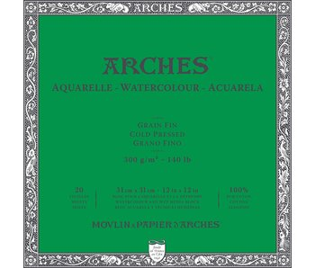 """ARCHES® Watercolour Cold Pressed 12"""" x 12"""" - 140lb / 300gsm Natural White 20 Sheet Block"""