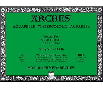 """ARCHES® Watercolour Cold Pressed 10"""" x 14"""" - 140lb / 300gsm Natural White 20 Sheet Block"""