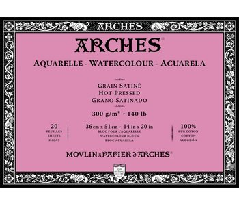 """ARCHES® Watercolour Hot Pressed 14"""" x 20"""" - 140lb / 300gsm Natural White 20 Sheet Block"""