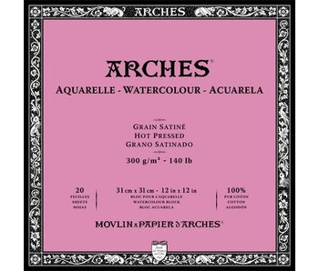 """ARCHES® Watercolour Hot Pressed 12"""" x 12"""" - 140lb / 300gsm Natural White 20 Sheet Block"""