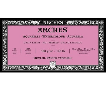 """ARCHES® Watercolour Hot Pressed 5.9"""" x 11.8"""" - 140lb / 300gsm Natural White 20 Sheet Block"""