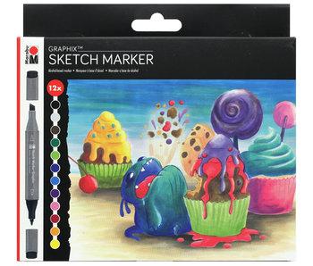 Marabu Graphix Sketch Marker Sugarholic 12 set
