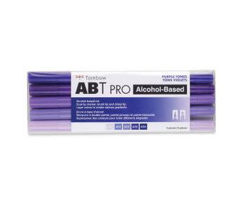Tombow ABT PRO Brush Marker 5-Marker Sets, 5-Color Purple Tones Set