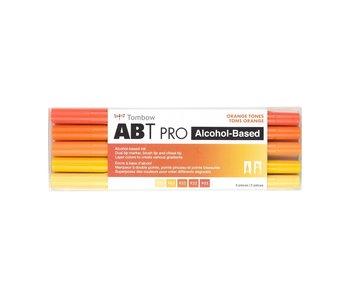 Tombow Orange Tones Set includes light ochre, chrome yellow, orange, scarlet and red.