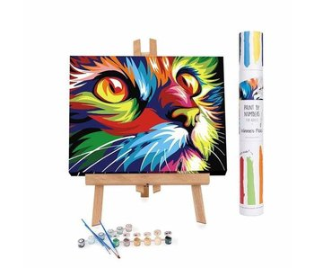 Adult Paint by Numbers Kits, Abstract and Modern Colorful Cat - Beginner