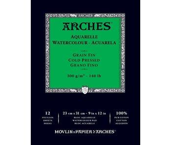 ARCHES WATERCOLOUR PAD 9x12 CP Cold Press 140LB 12PK
