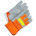 Bob dale gloves BDG Hi-Vis Orange Split Leather Work Gloves