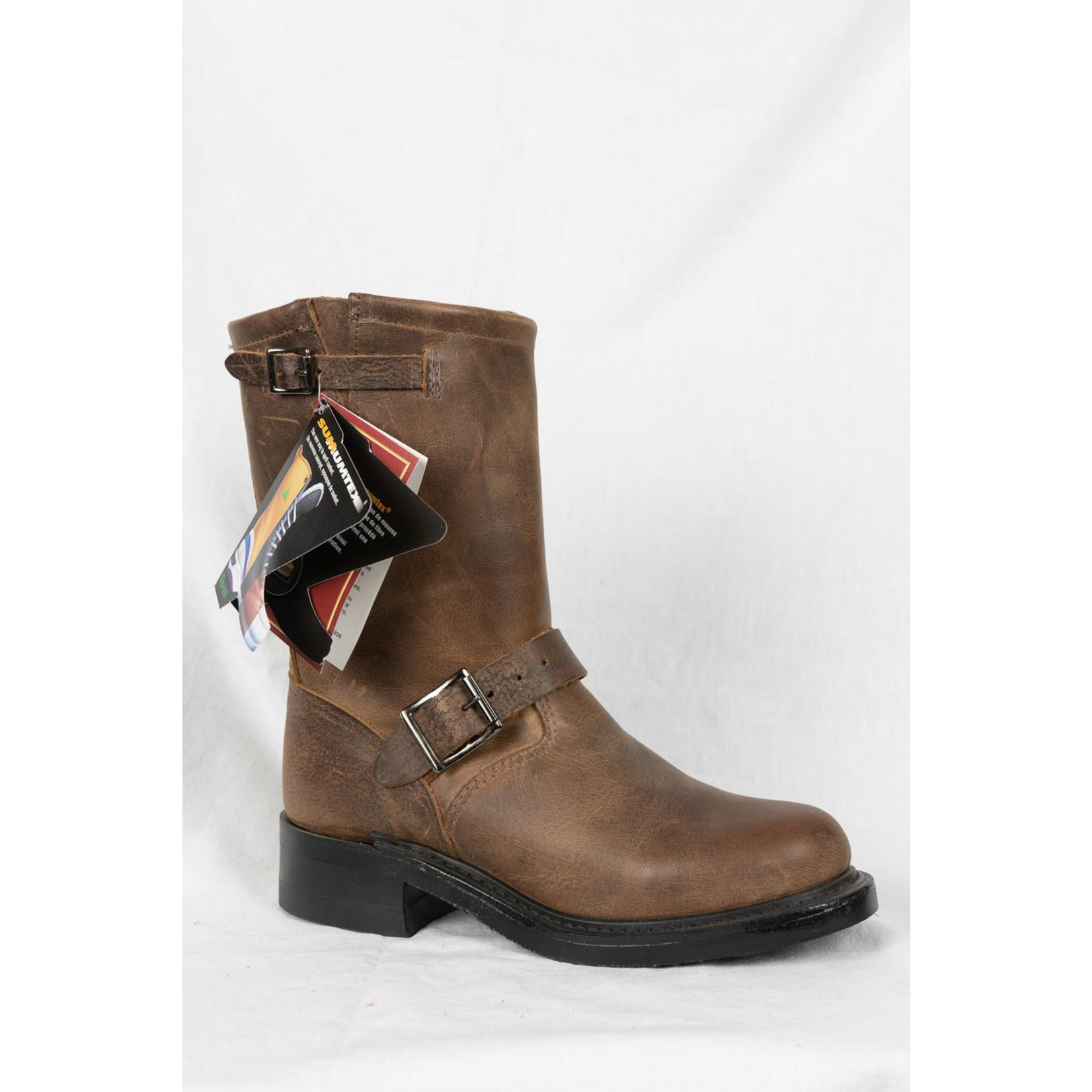 Boulet Boulet Women's Brown Leather Biker Boot 1164 Width 1C