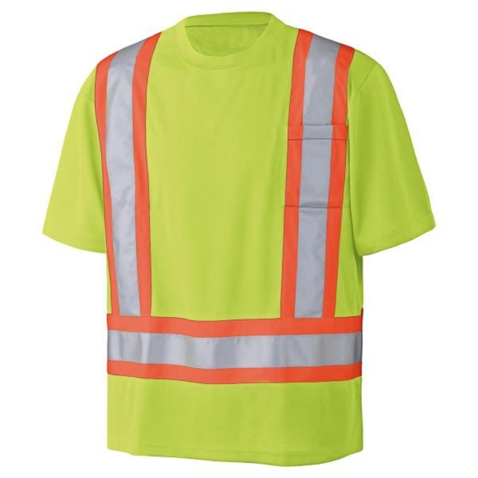 Pioneer Pioneer Shirt Short Sleeve Hi-Vis Moisture Wicking Birdseye Yellow