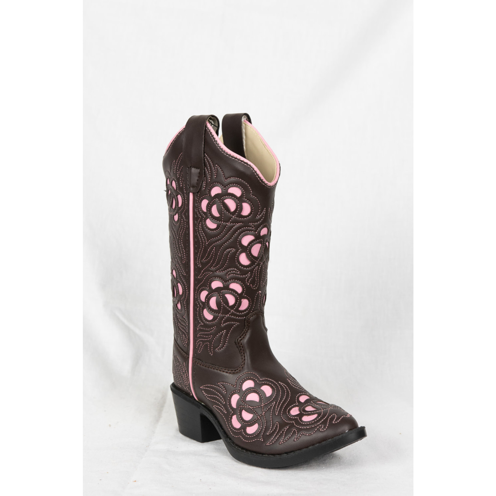 Old west Old West Brown Pink Children's Cowboy Boot VJ9114