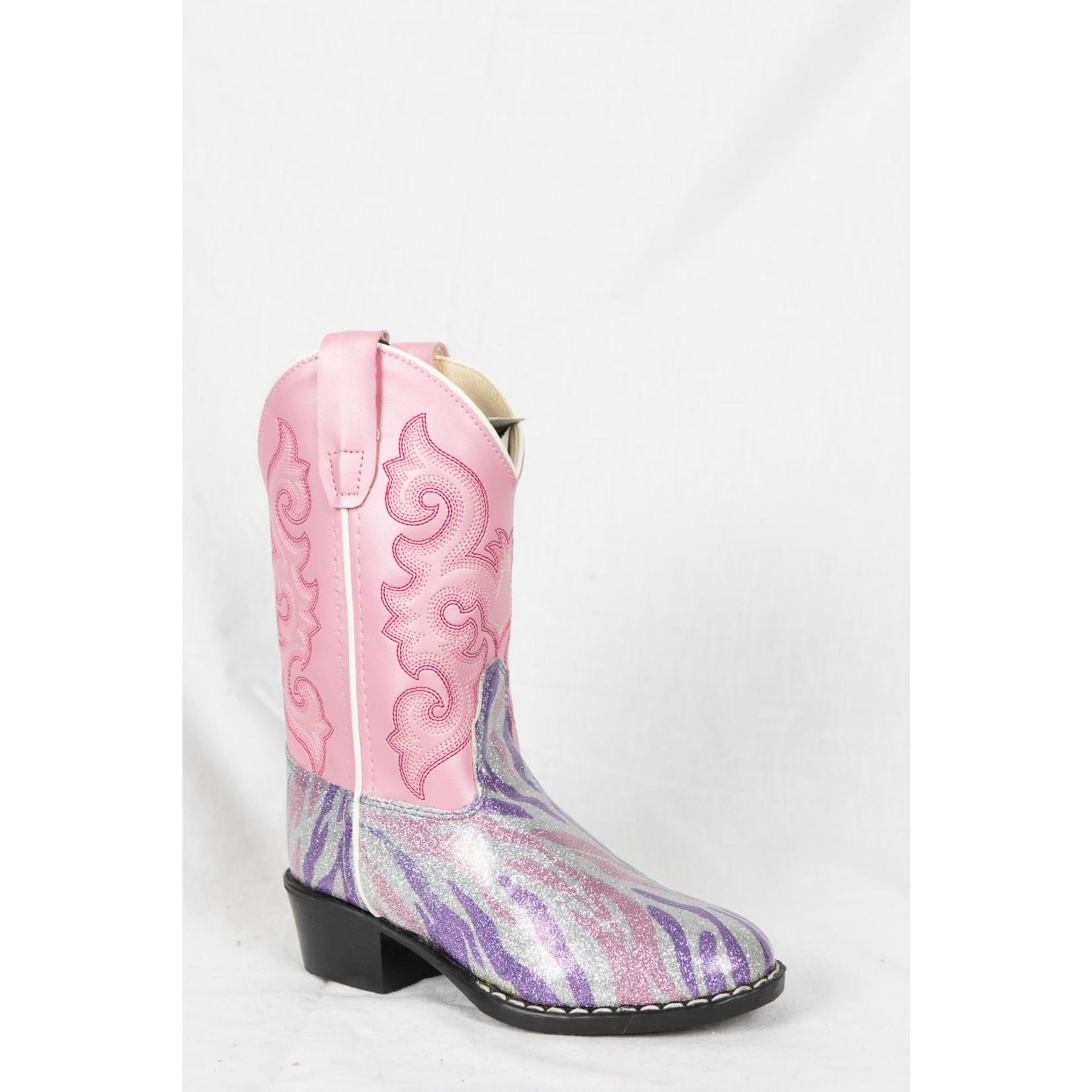 Old west Old West Pink/ Purple Sparkle Children Cowboy Boot VR9123