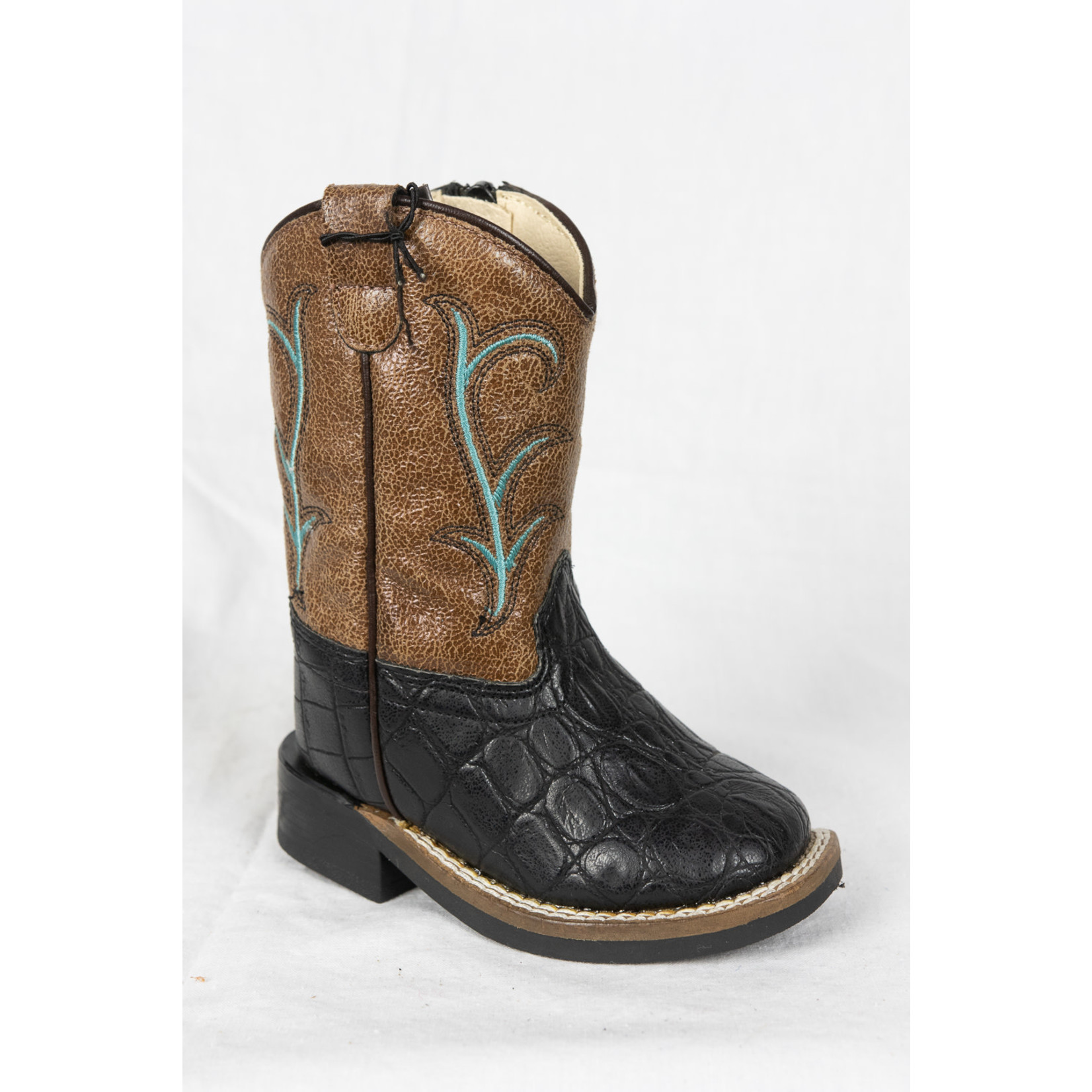 Old west Old West Brown Black Zip Children Cowboy Boot VB1012