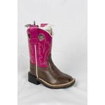 Old west Old West Pink Brown Toddler Cowboy Boot BSI1851