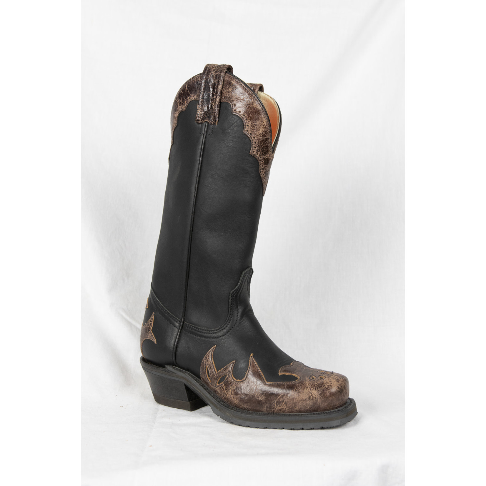 Canada West Canada West Womens Black Brown Square Toe 7629-1