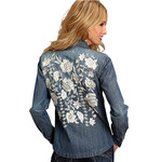 Stetson Women's Snap Front Floral Embroidered Denim Long Sleeve Top - 11-050-0594-1026