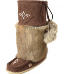 """Eugene Cloutier Eugene Cloutier 13"""" Brown Women's Mukluks Suede Beaded Genuine Rabbits Fur Rubber Sole 985447CHOL"""