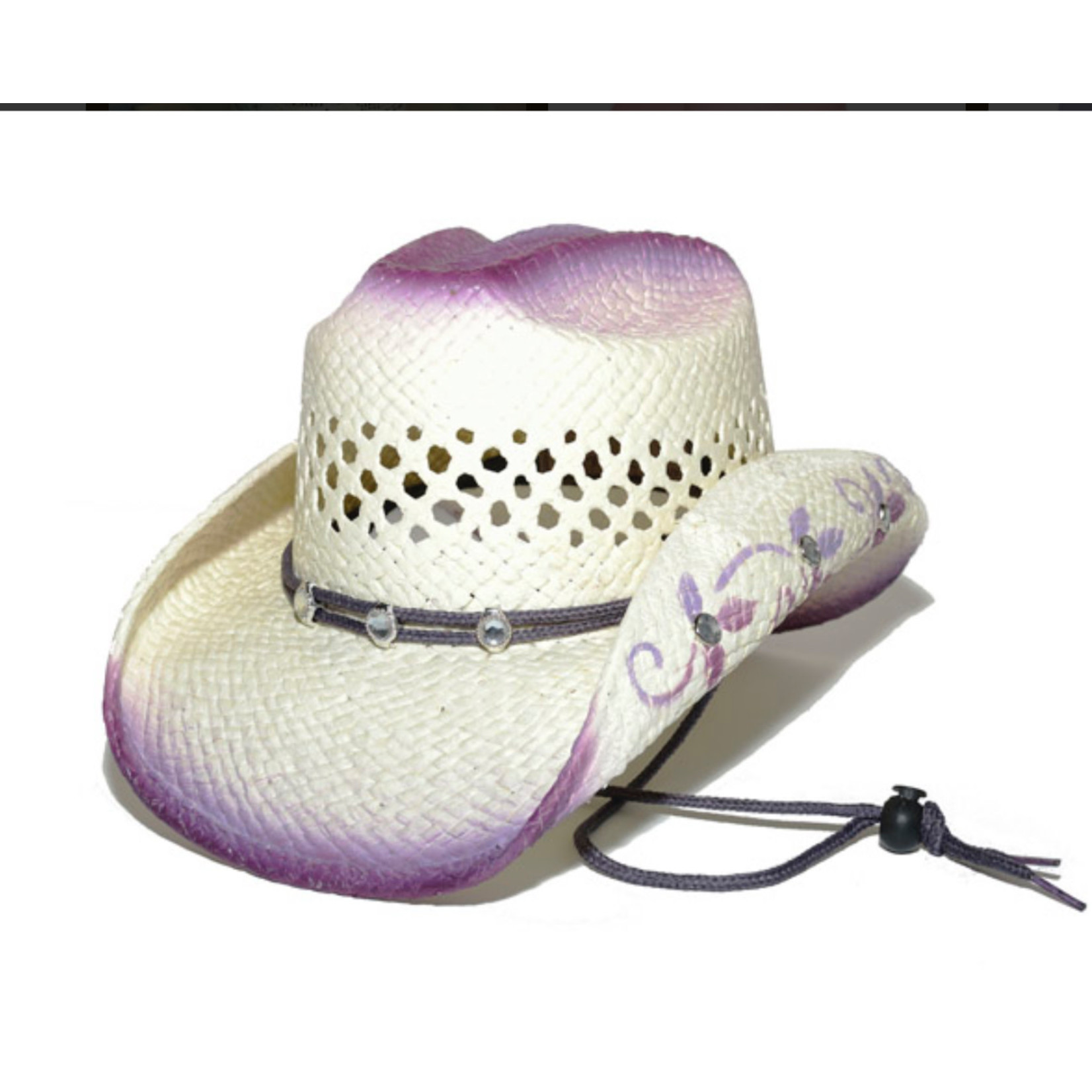 Purple Bling Straw Cowboy Hat