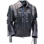 Sofari Leather Bones Braids Fringed Jacket M1706FBB