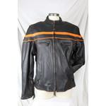 Dream Apparel Men's Leather Biker Jacket Black with Orange Trim Removable Zip-Out Liner  Heavy
