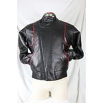 edco Men's Leather Biker Jacket Black and Red Cross Chest Zip