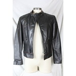 Perino Point Men's Leather Biker Jacket Black and Burgundy Right Side Zip 5531