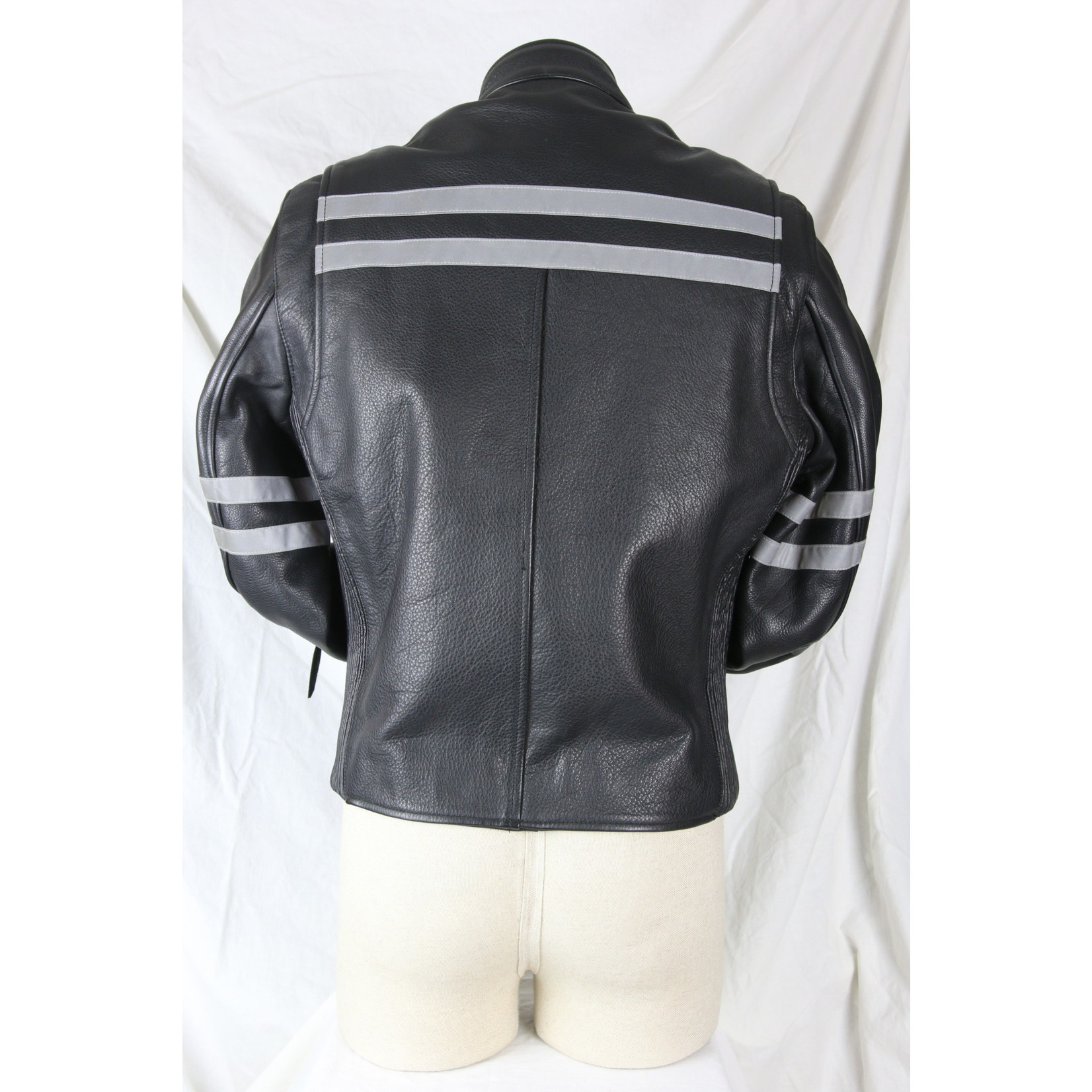 Safari Collections Men's Reflective Striped Straight Collar Leather Biker Jacket with Zip-Out Liner