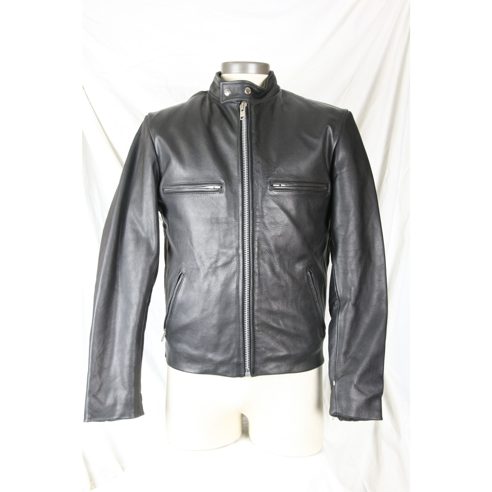 Cruiser by Safari Men's Biker Jacket Black Built-in Neck Warmer Zip-Out Liner Nehru Collar Leather