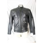 Cruiser by Sofari Men's Leather Biker Jacket Black Brass Accents Nehru Collar Zip-Out Liner