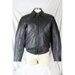 Bristol 3367 Men's Black Leather Bomber Jacket Snap-Down Collar