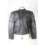 Sofari Collections 37755 Men's Leather Biker Jacket Black Zip-Out Liner Brass Accents