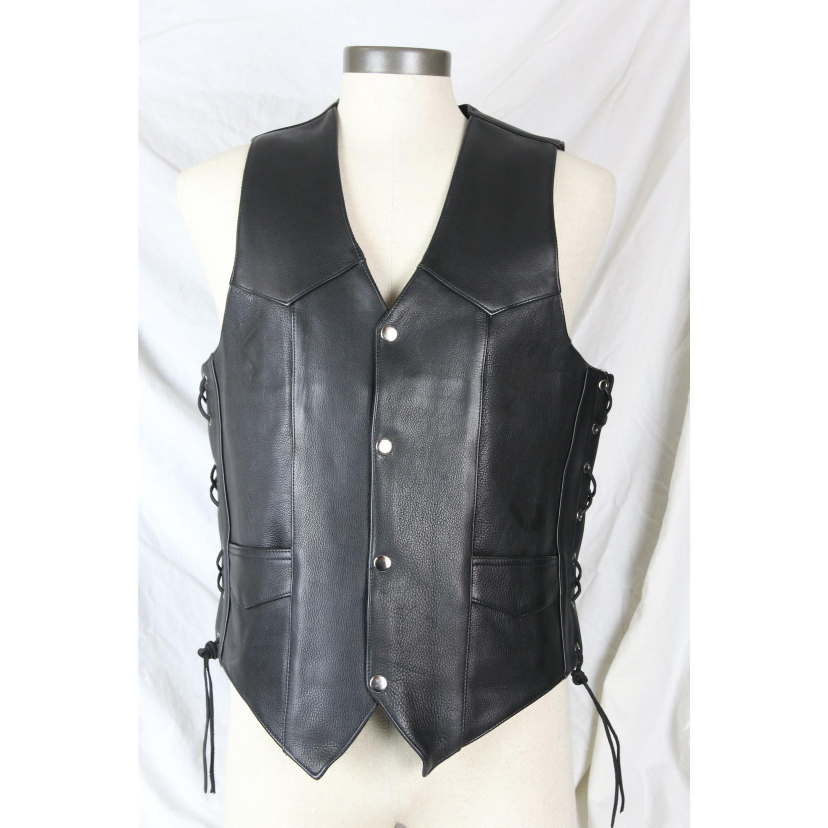 Cruiser by Sofari Kids Leather Biker Vest Cinch Lace Waist KD-392
