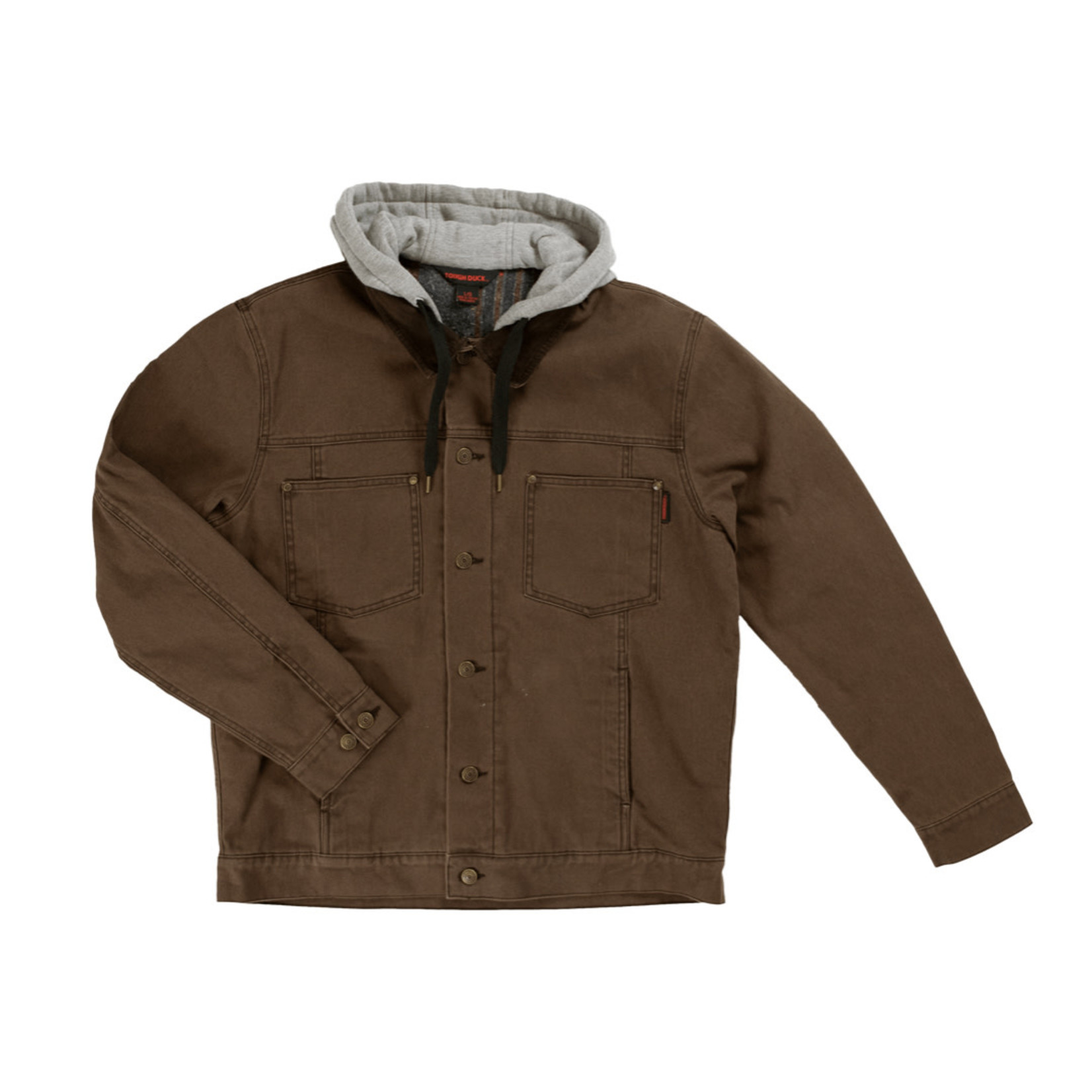 Tough Duck Tough Duck Washed Duck Button Down Blanket Lined Hooded Jacket WJ111 Chestnut