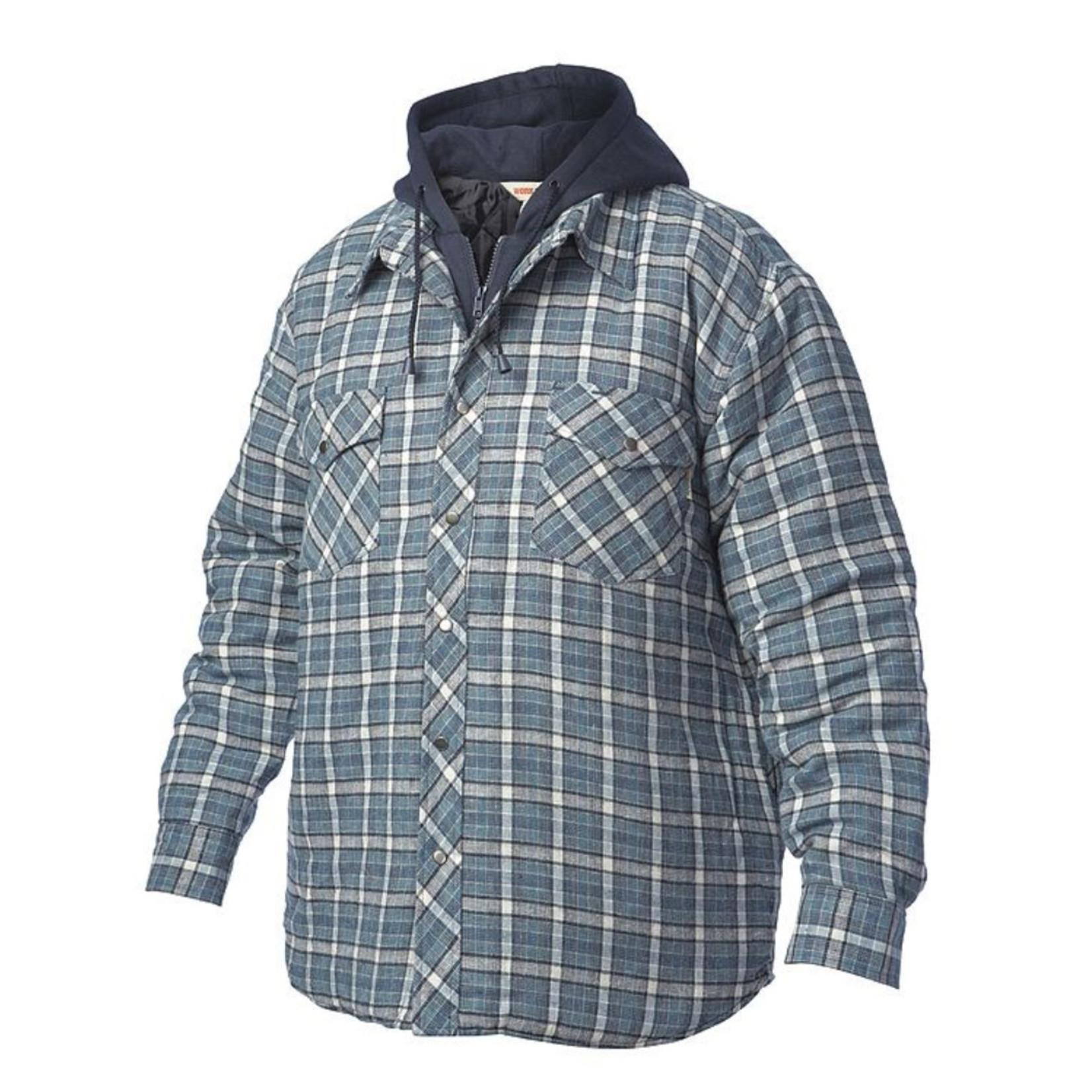 Work King Work King Men's Fooler Hooded Flannel Jack Shirt Quilted Liner Zipper and Snaps I6U511