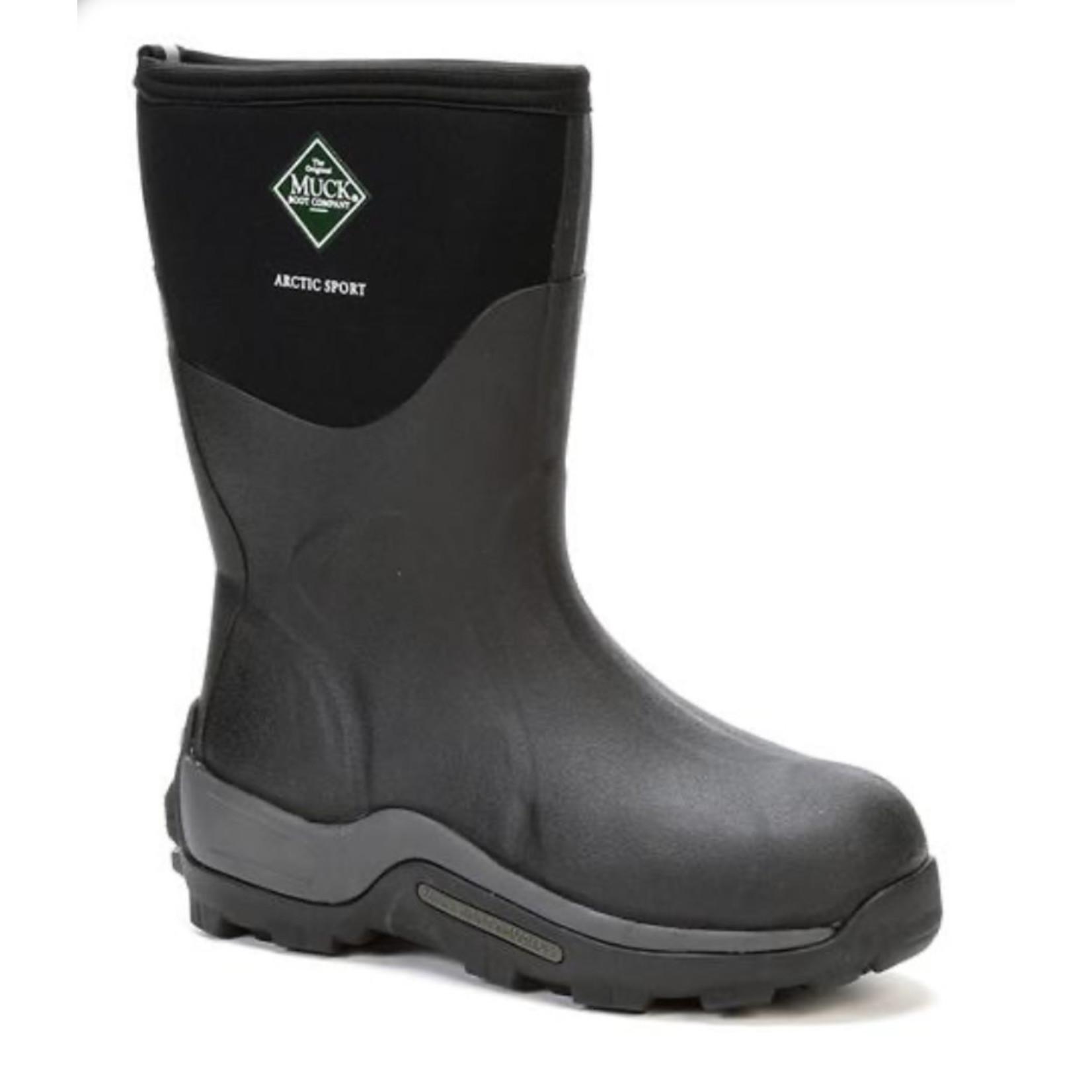 Muck Muck Arctic Sport Soft Toe Mid -40 Fleece Lined Rubber Boot Black ASM-000A-BLK