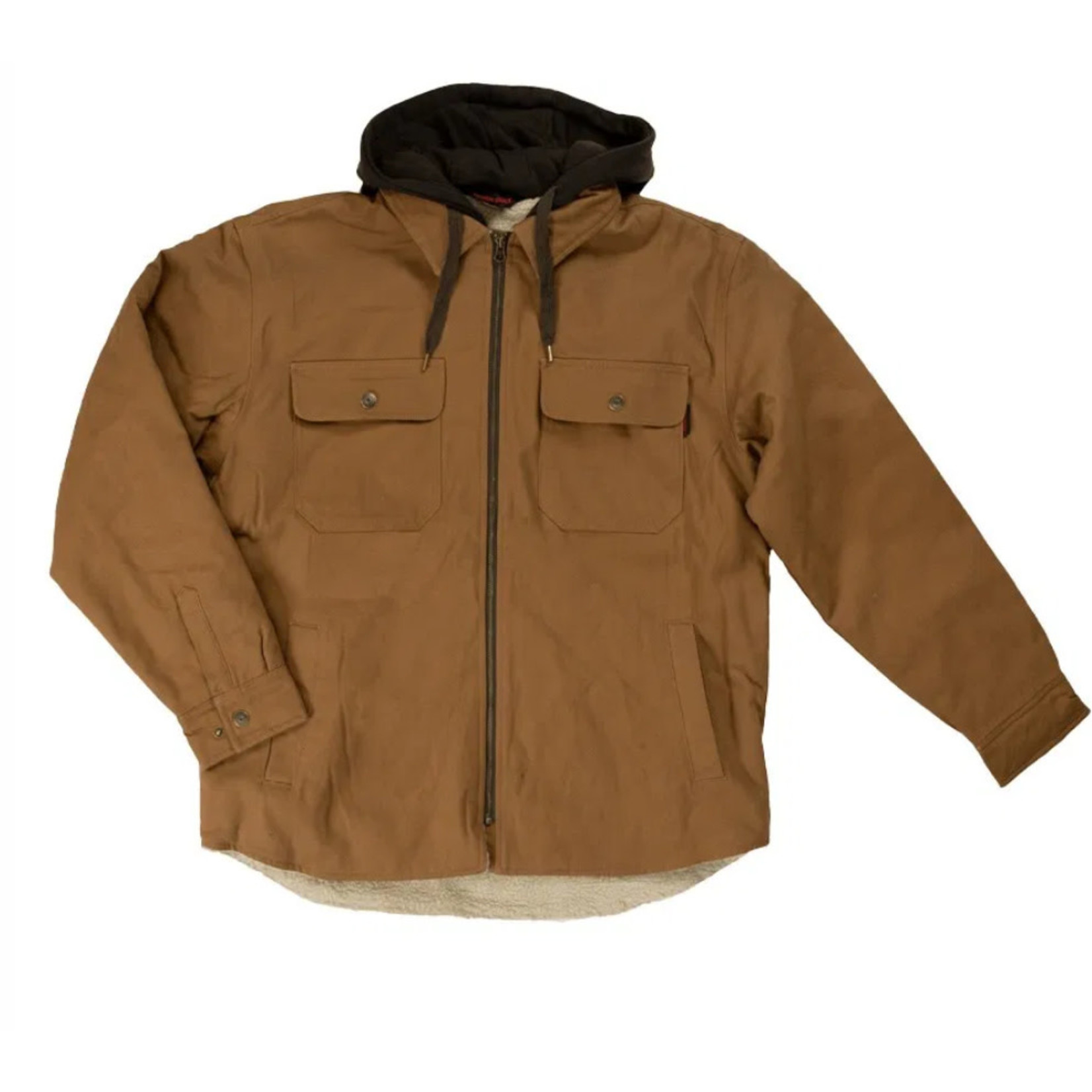 Tough Duck Tough Duck Sherpa Lined Jacket Button Up Fooler Hood Canvas Brown WS031