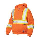 Work King Work King Hi-Vis Zip Front Hoodie With Saftey Stripes Fluorescent Orange S47421