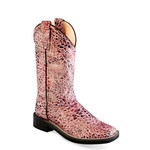 Old west Old West Kids/Youth  Pink Sparkle Square Toe Boot  VB9118